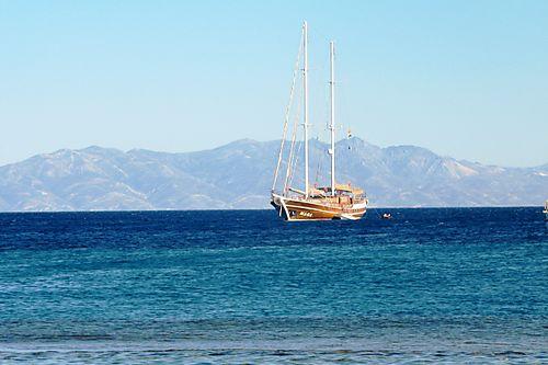 Ship off of santorini