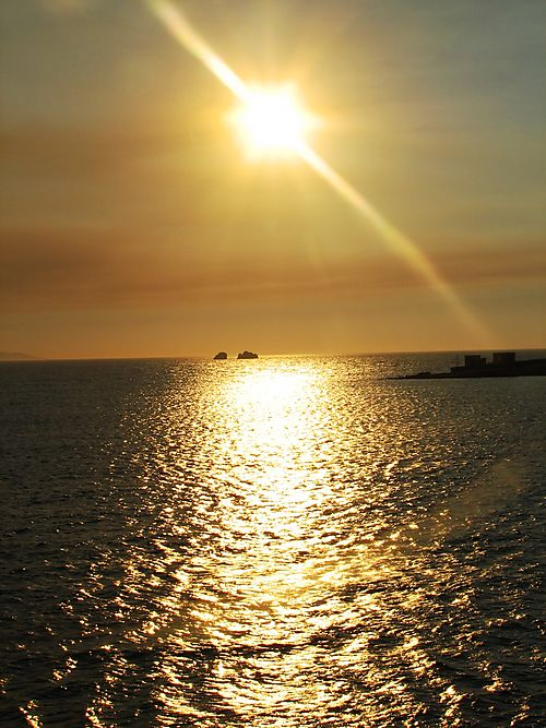 Sunset off of mykonos